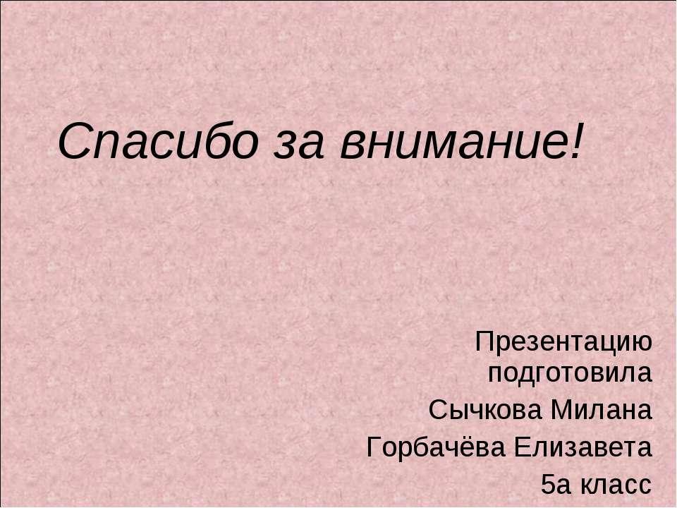 Спасибо за внимание! Презентацию подготовила Сычкова Милана Горбачёва Елизаве...