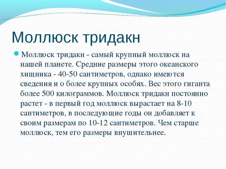 Моллюск тридакн Моллюск тридакн - самый крупный моллюск на нашей планете. Сре...
