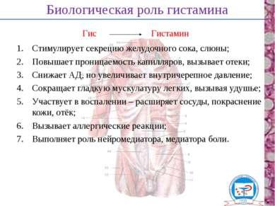 Биологическая роль гистамина Стимулирует секрецию желудочного сока, слюны; По...