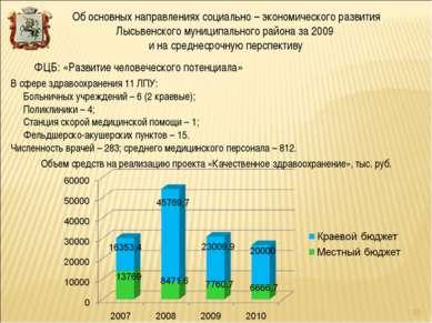 В сфере здравоохранения 11 ЛПУ: Больничных учреждений – 6 (2 краевые); Поликл...