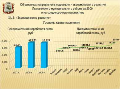 Уровень жизни населения ФЦБ: «Экономическое развитие» Среднемесячная заработн...