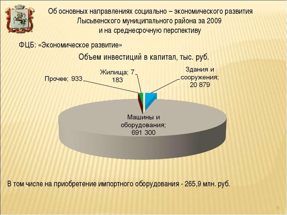 Объем инвестиций в капитал, тыс. руб. ФЦБ: «Экономическое развитие» В том чис...