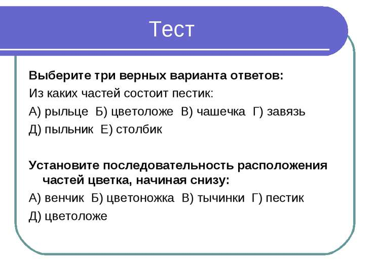 Тест Выберите три верных варианта ответов: Из каких частей состоит пестик: А)...