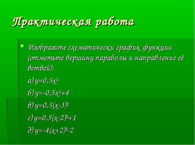 Практическая работа Изобразите схематически график функции (отметьте вершину ...