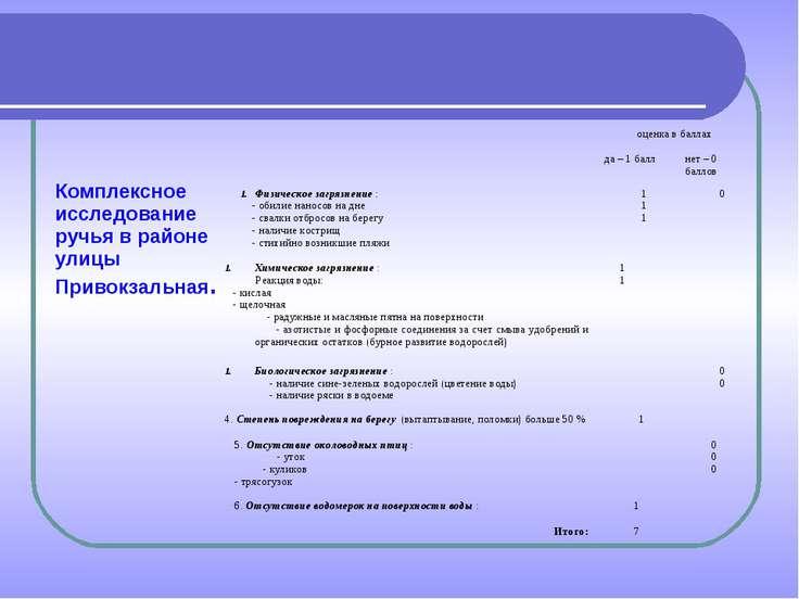 Комплексное исследование ручья в районе улицы Привокзальная. оценка в баллах ...