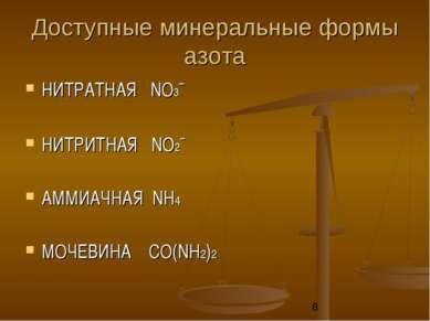 Доступные минеральные формы азота НИТРАТНАЯ NО3ˉ НИТРИТНАЯ NО2ˉ АММИАЧНАЯ NН4...