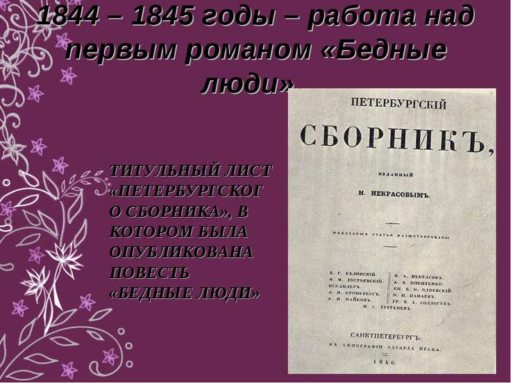 1844 – 1845 годы – работа над первым романом «Бедные люди». ТИТУЛЬНЫЙ ЛИСТ «П...