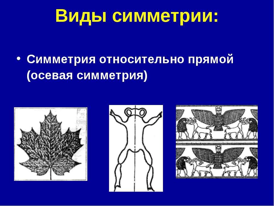 Виды симметрии: Симметрия относительно прямой (осевая симметрия)