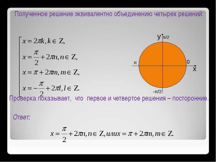 Полученное решение эквивалентно объединению четырех решений: Проверка показыв...