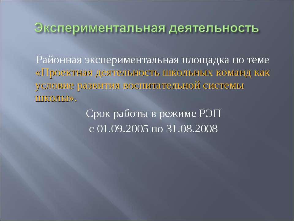 Районная экспериментальная площадка по теме «Проектная деятельность школьных ...