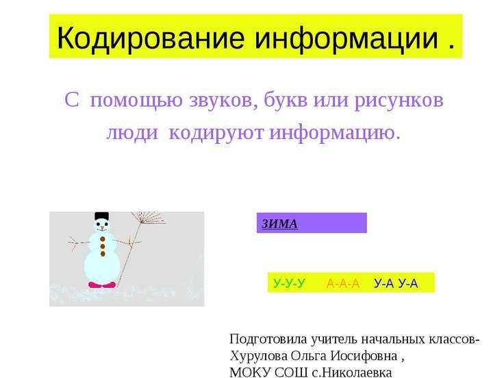 Кодирование информации . С помощью звуков, букв или рисунков люди кодируют ин...