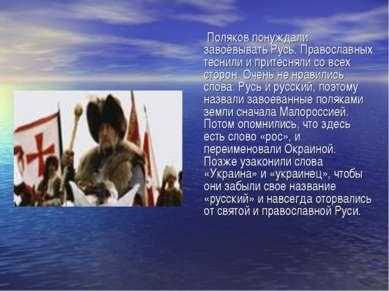 Поляков понуждали завоёвывать Русь. Православных теснили и притесняли со всех...