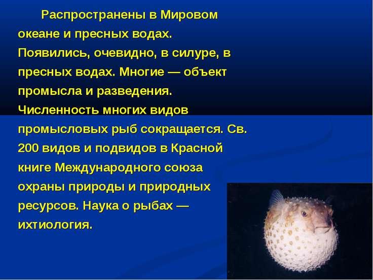 Распространены в Мировом океане и пресных водах. Появились, очевидно, в силур...