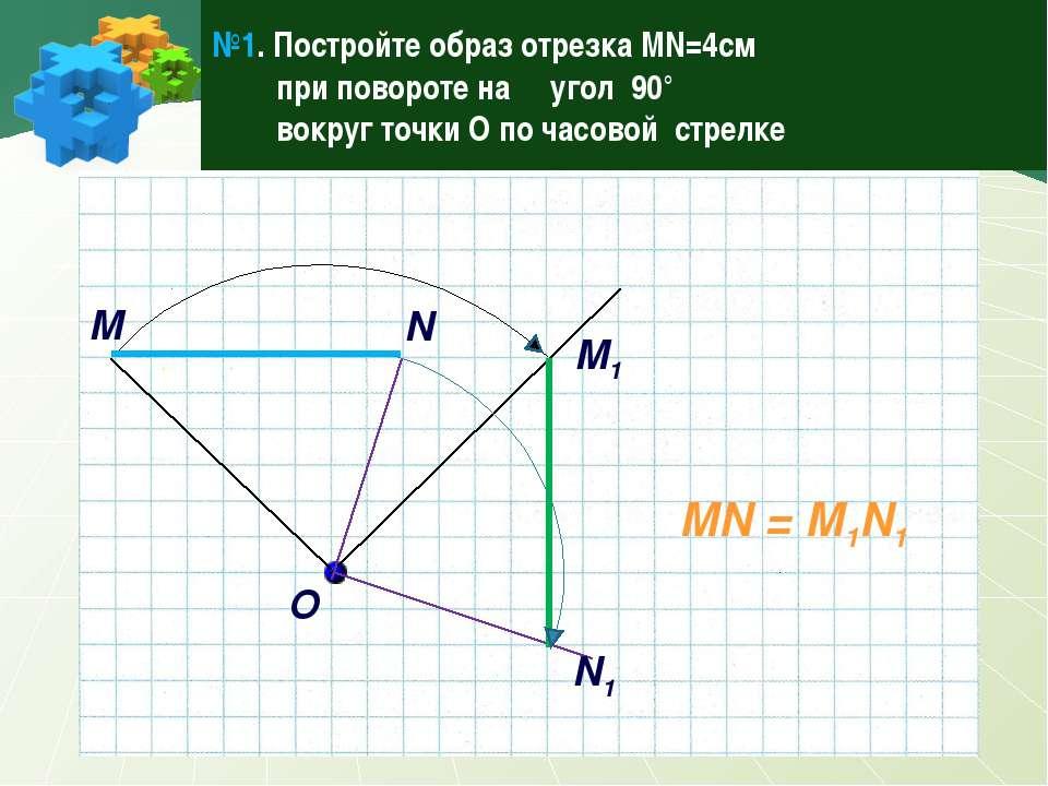 №1. Постройте образ отрезка MN=4см при повороте на угол 90° вокруг точки О по...