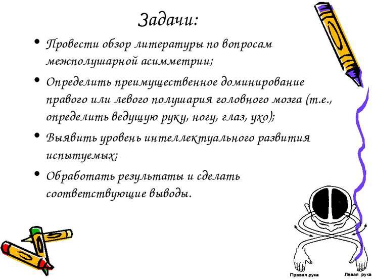 Задачи: Провести обзор литературы по вопросам межполушарной асимметрии; Опред...
