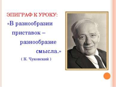 ЭПИГРАФ К УРОКУ: «В разнообразии приставок – разнообразие смысла.» ( К. Чуков...