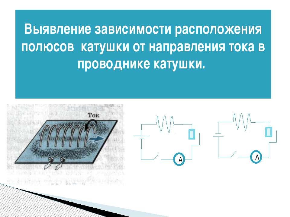 Выявление зависимости расположения полюсов катушки от направления тока в пров...