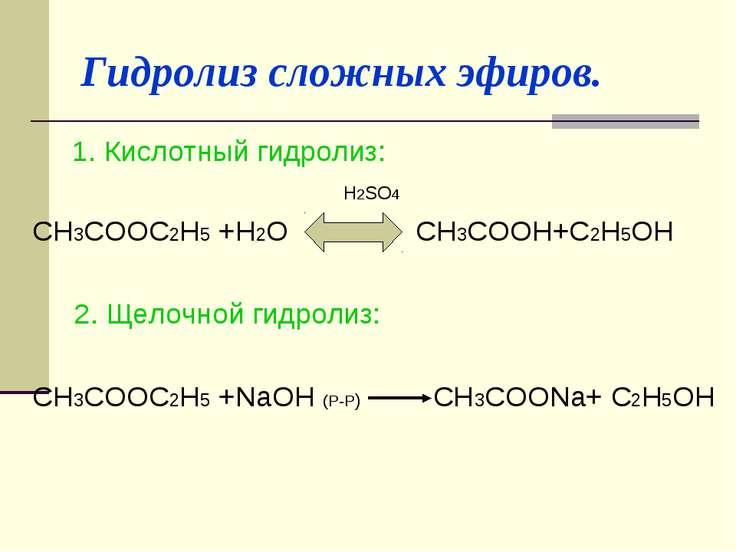 Гидролиз сложных эфиров. 1. Кислотный гидролиз: H2SO4 CH3COOC2H5 +H2O CH3COOH...