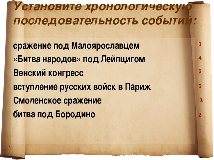 Установите хронологическую последовательность событий: сражение под Малояросл...