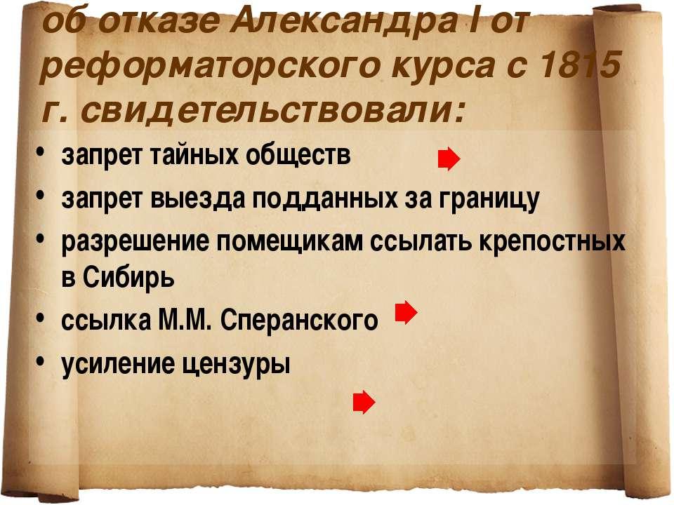 об отказе Александра I от реформаторского курса с 1815 г. свидетельствовали: ...