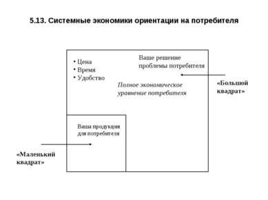 5.13. Системные экономики ориентации на потребителя «Маленький квадрат» «Боль...