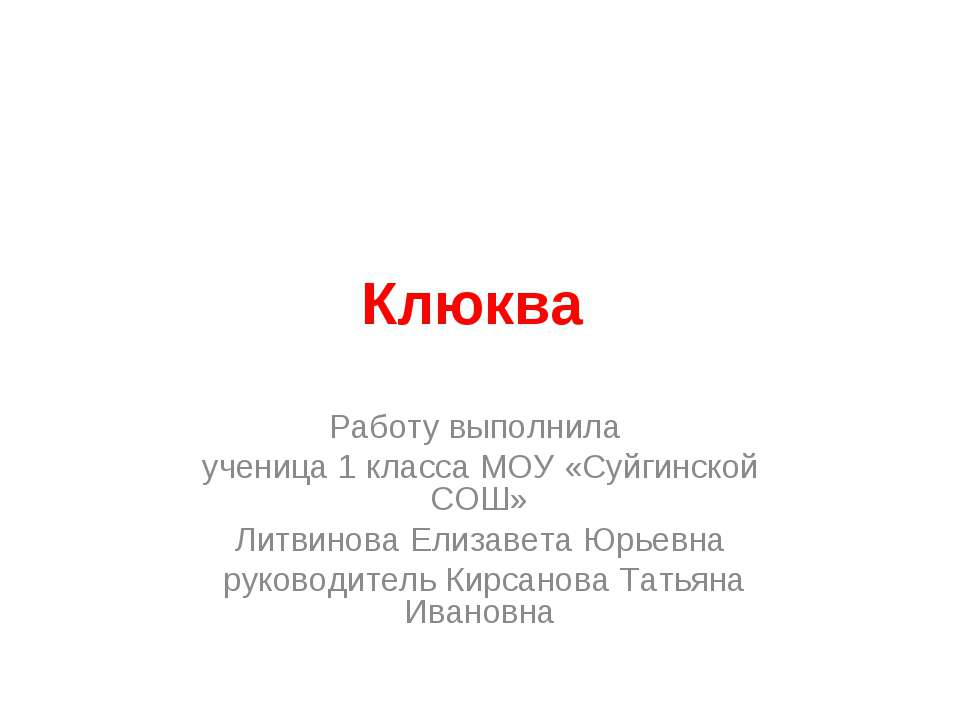 Клюква Работу выполнила ученица 1 класса МОУ «Суйгинской СОШ» Литвинова Елиза...