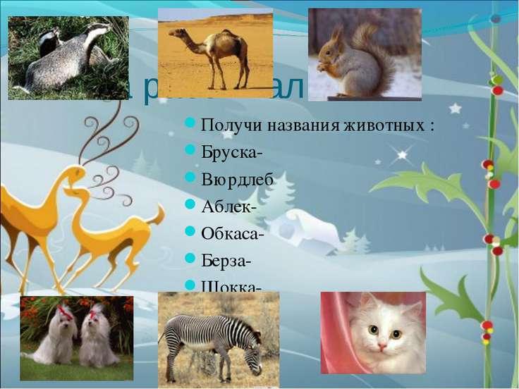 Слова рассыпались. Получи названия животных : Бруска- Вюрдлеб Аблек- Обкаса- ...