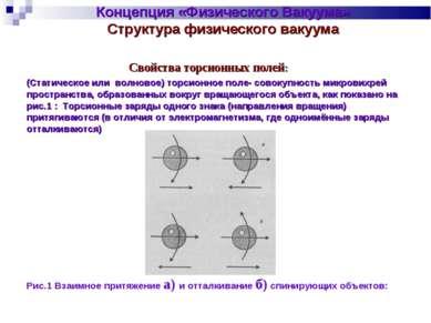 Концепция «Физического Вакуума» Структура физического вакуума Свойства торсио...