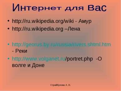 Страйбулова А. Н. http://ru.wikipedia.org/wiki - Амур http://ru.wikipedia.org...