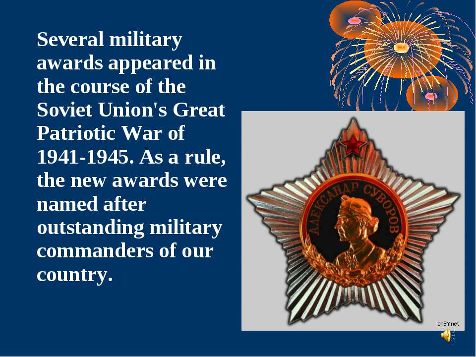 Several military awards appeared in the course of the Soviet Union's Great Pa...