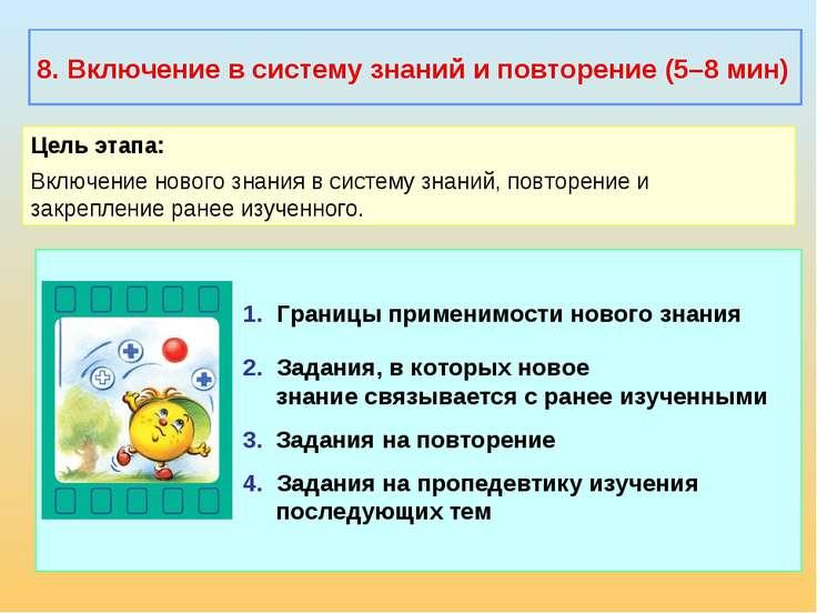 1. Границы применимости нового знания 2. Задания, в которых новое знание связ...