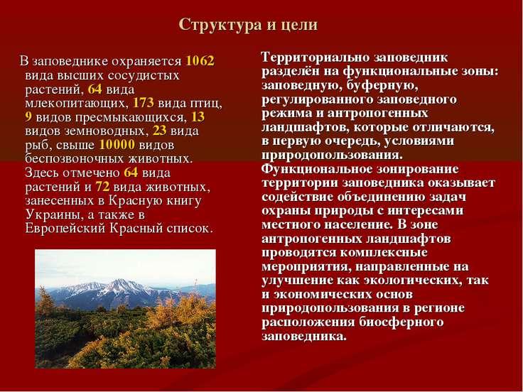Структура и цели В заповеднике охраняется 1062 вида высших сосудистых растени...