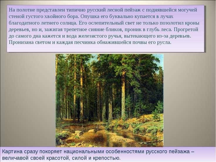 На полотне представлен типично русский лесной пейзаж с поднявшейся могучей ст...