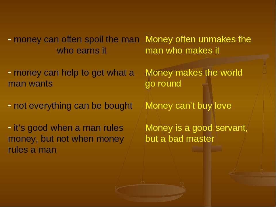 money can often spoil the man who earns it money can help to get what a man w...