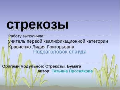стрекозы Работу выполнила: учитель первой квалификационной категории Кравченк...