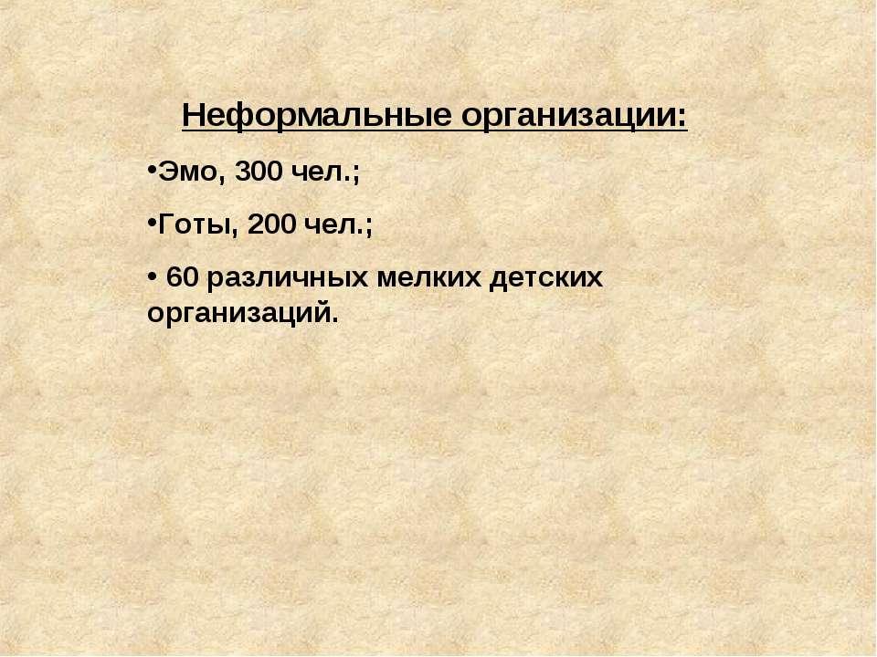 Неформальные организации: Эмо, 300 чел.; Готы, 200 чел.; 60 различных мелких ...