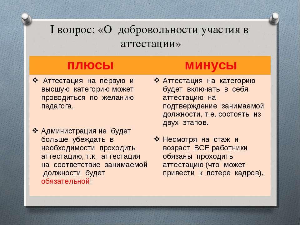 I вопрос: «О добровольности участия в аттестации» плюсы минусы Аттестация на ...