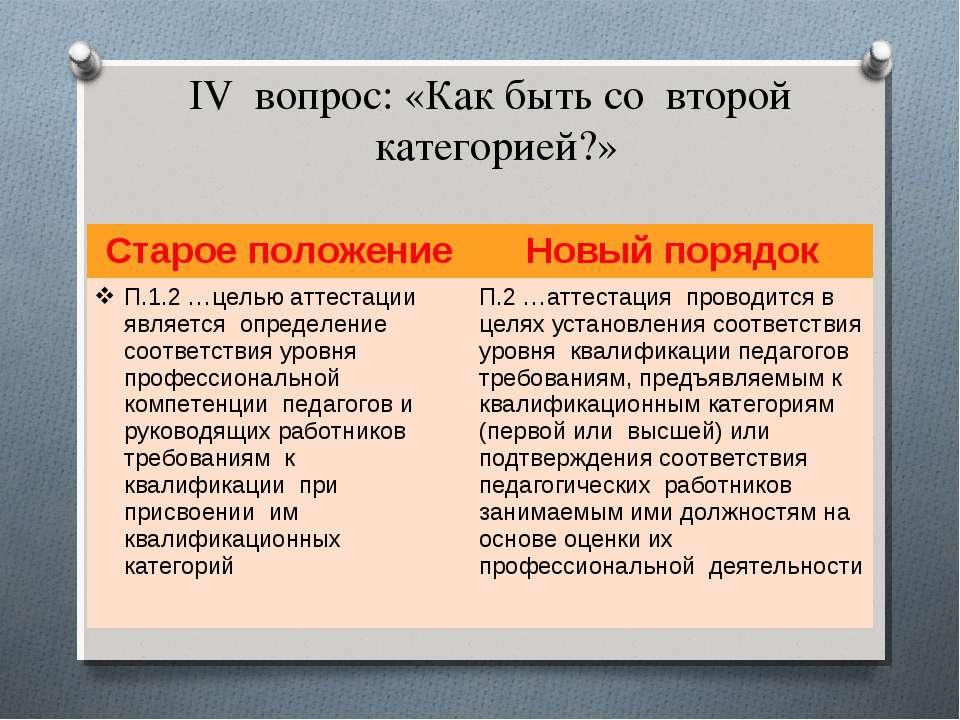 IV вопрос: «Как быть со второй категорией?» Старое положение Новый порядок П....