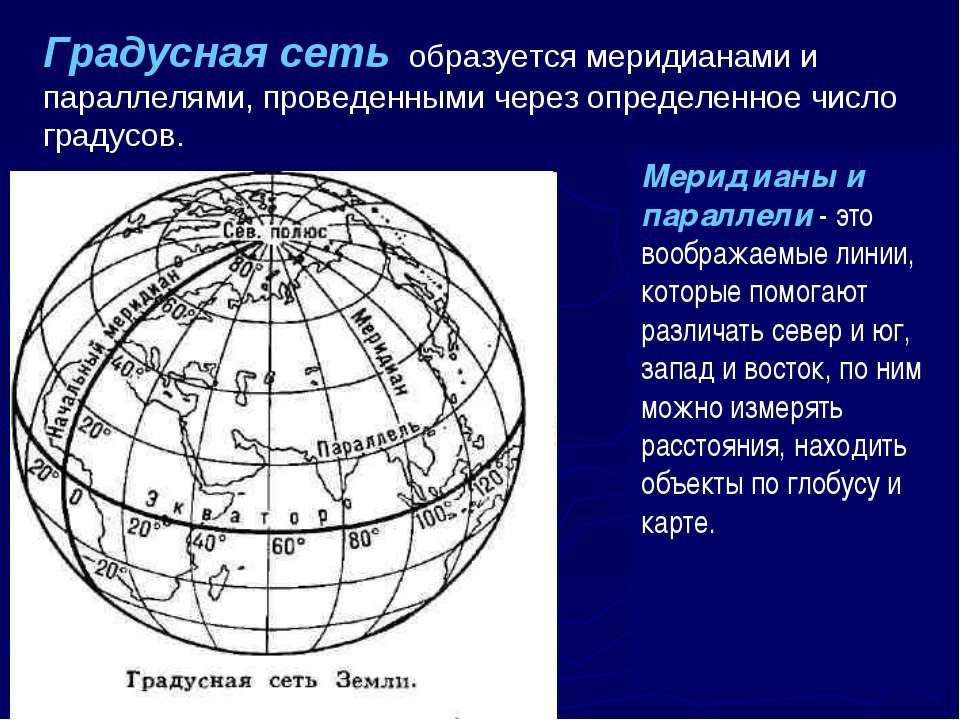 Градусная сеть образуется меридианами и параллелями, проведенными через опред...