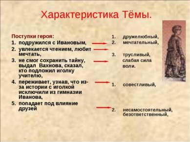 Характеристика Тёмы. Поступки героя: подружился с Ивановым, увлекается чтение...