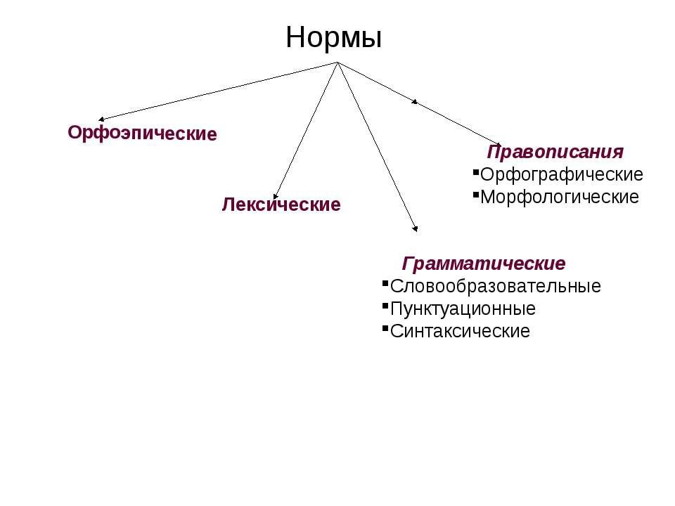 Нормы Орфоэпические Лексические Грамматические Словообразовательные Пунктуаци...