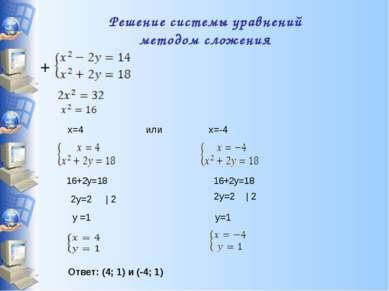 Решение системы уравнений методом сложения x=4 или x=-4 16+2y=18 16+2y=18 2y=...