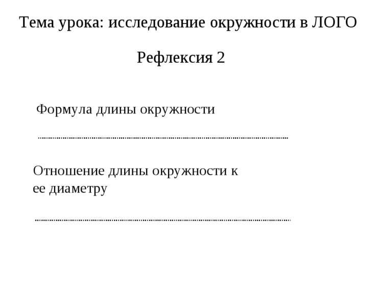 Тема урока: исследование окружности в ЛОГО Рефлексия 2 Формула длины окружнос...
