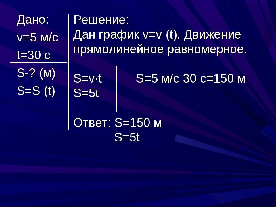 Дано: v=5 м/с t=30 c S-? (м) S=S (t) Решение: Дан график v=v (t). Движение пр...