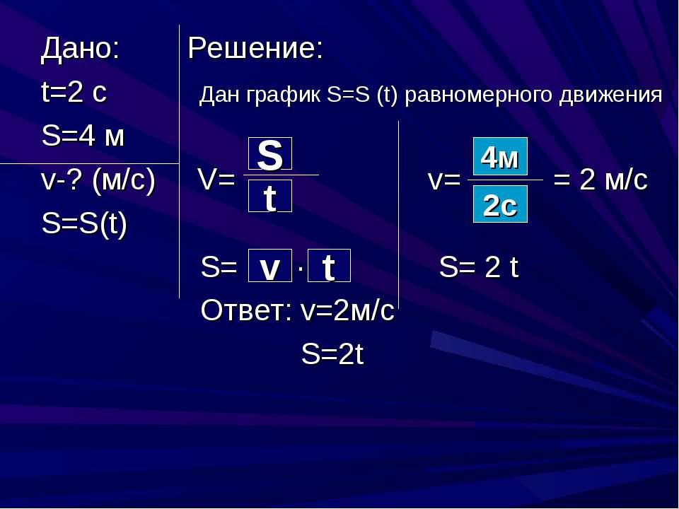 Дано: Решение: t=2 c Дан график S=S (t) равномерного движения S=4 м v-? (м/с)...