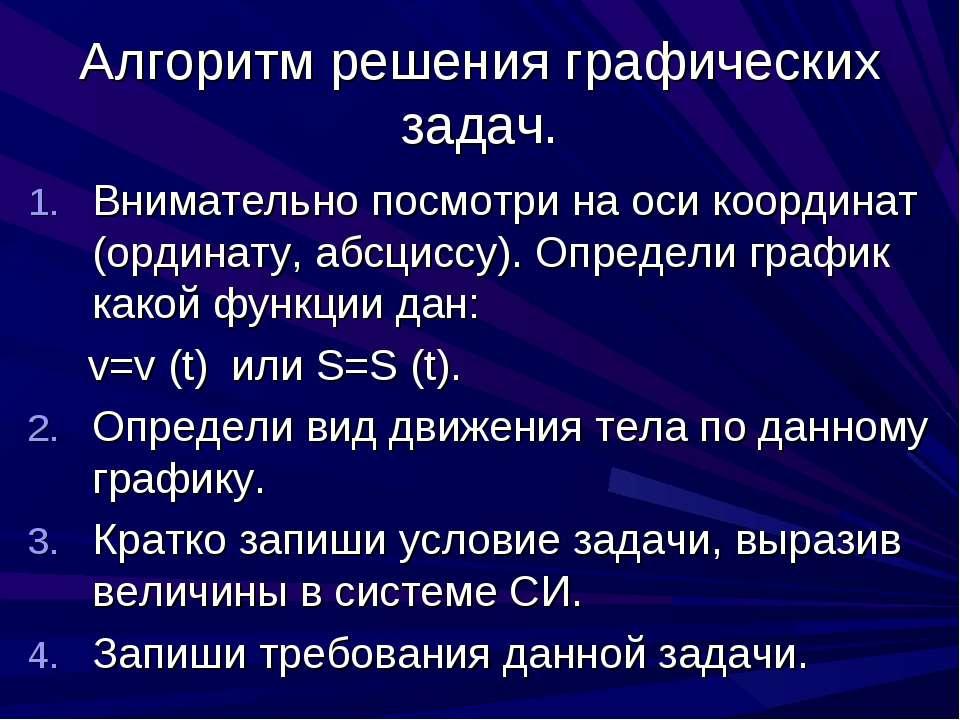 Алгоритм решения графических задач. Внимательно посмотри на оси координат (ор...