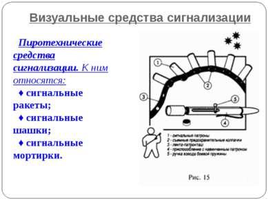 Визуальные средства сигнализации Пиротехнические средства сигнализации. К ним...