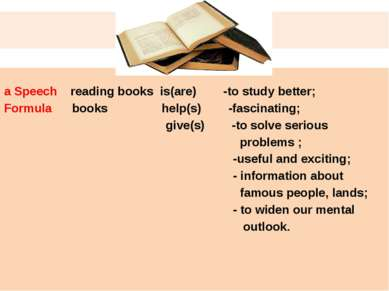 you what a Speech reading books is(are) -to study better; Formula books help(...