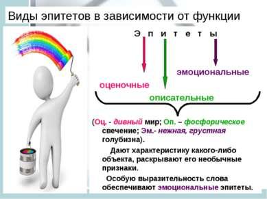 Виды эпитетов в зависимости от функции Э п и т е т ы эмоциональные оценочные ...