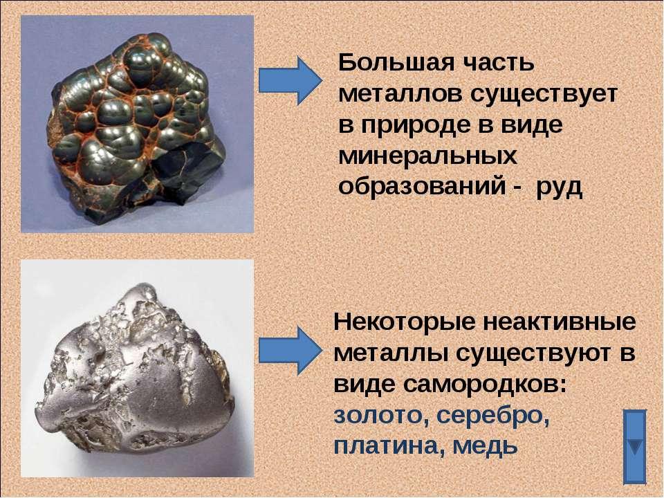 Большая часть металлов существует в природе в виде минеральных образований - ...